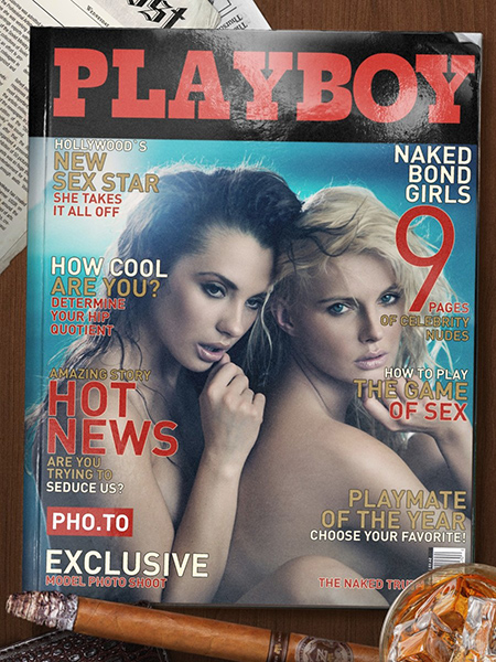 A magazine cover template is used to add a photo of two young naked girls to a Playboy fake cover