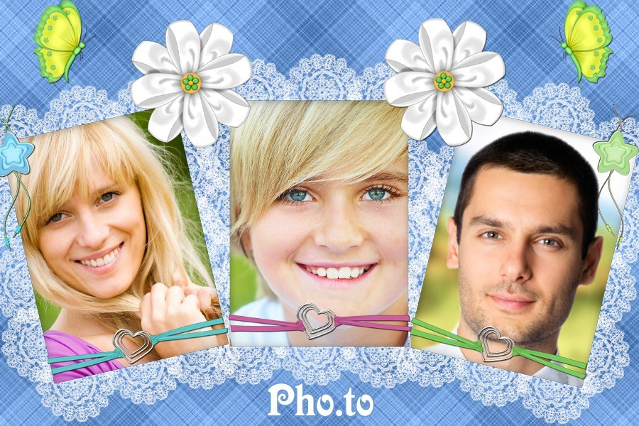 Three portrait photos united in one beautiful photo collage