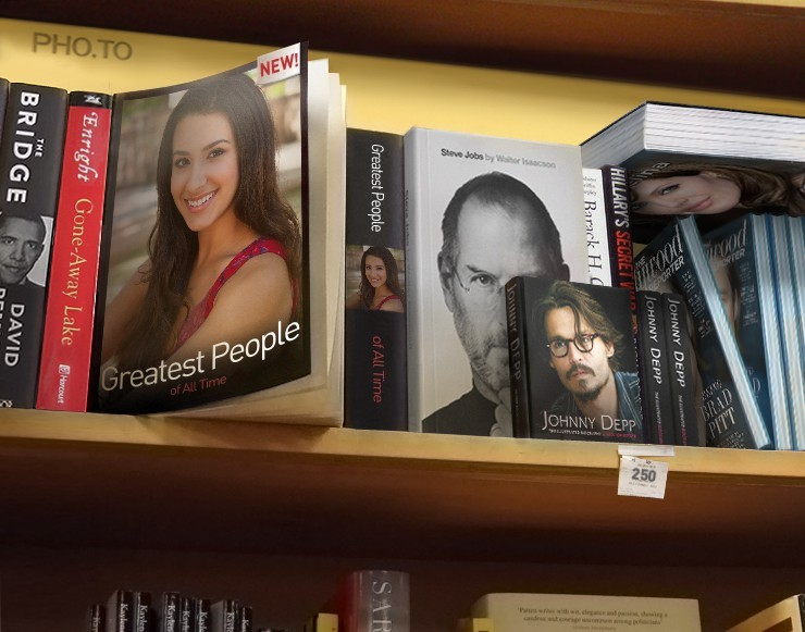 Book covers showing famous people