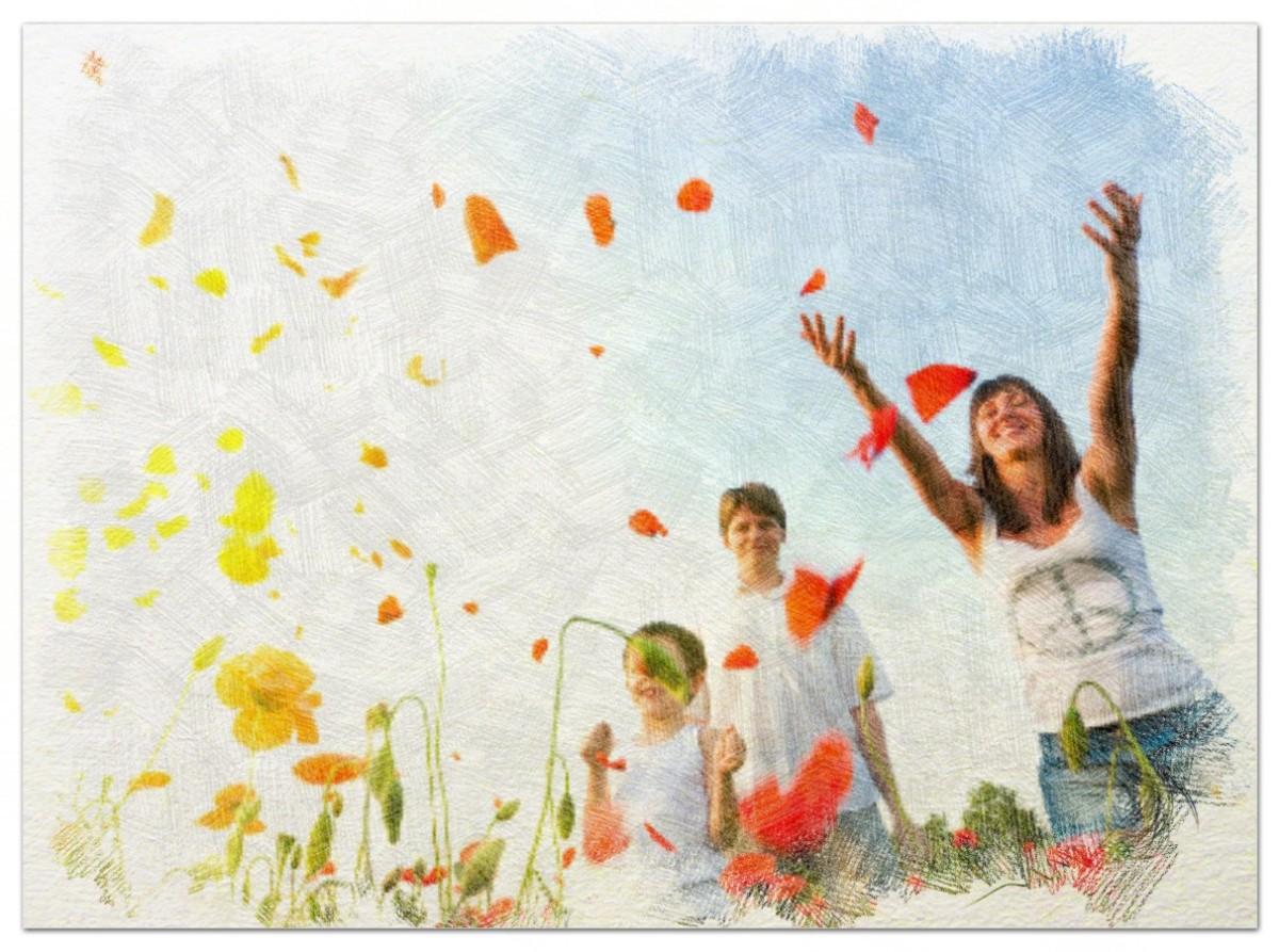 A happy family on a poppy field