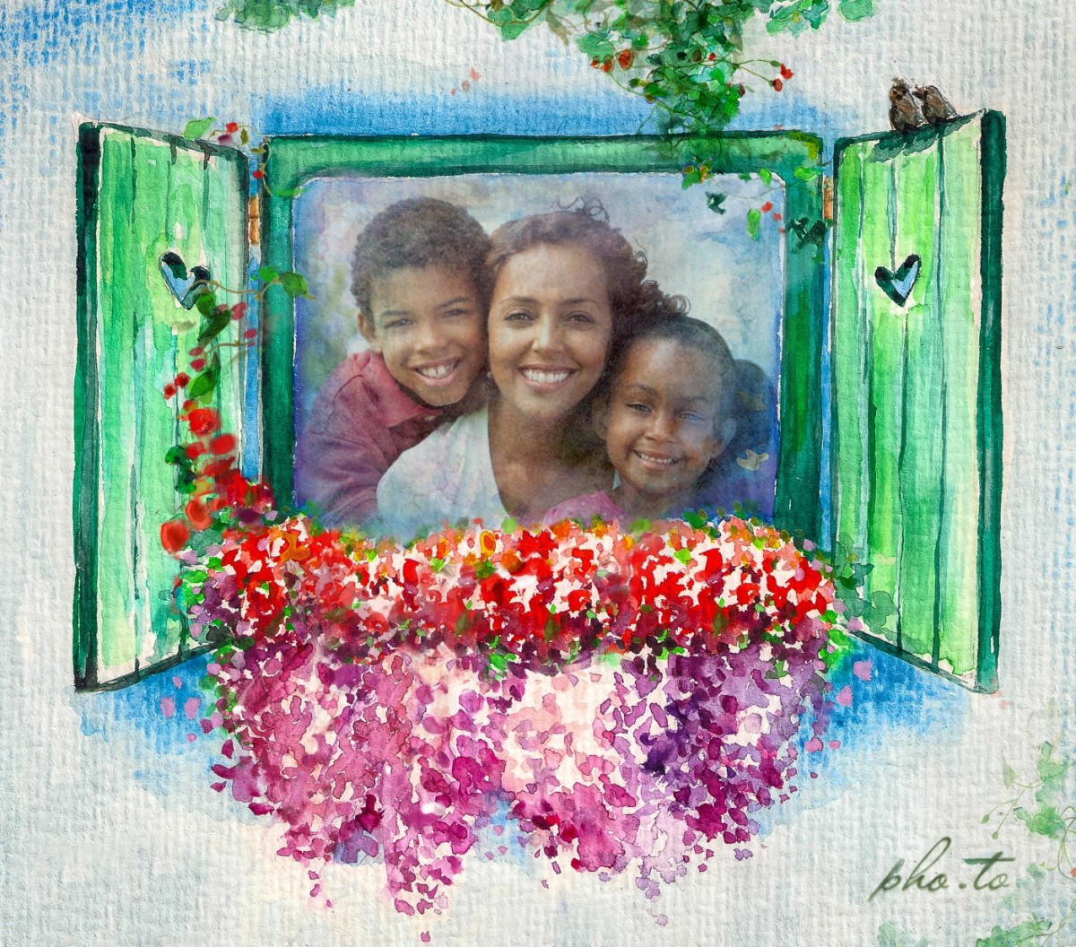 A family photo edited with watecolor frame emplate