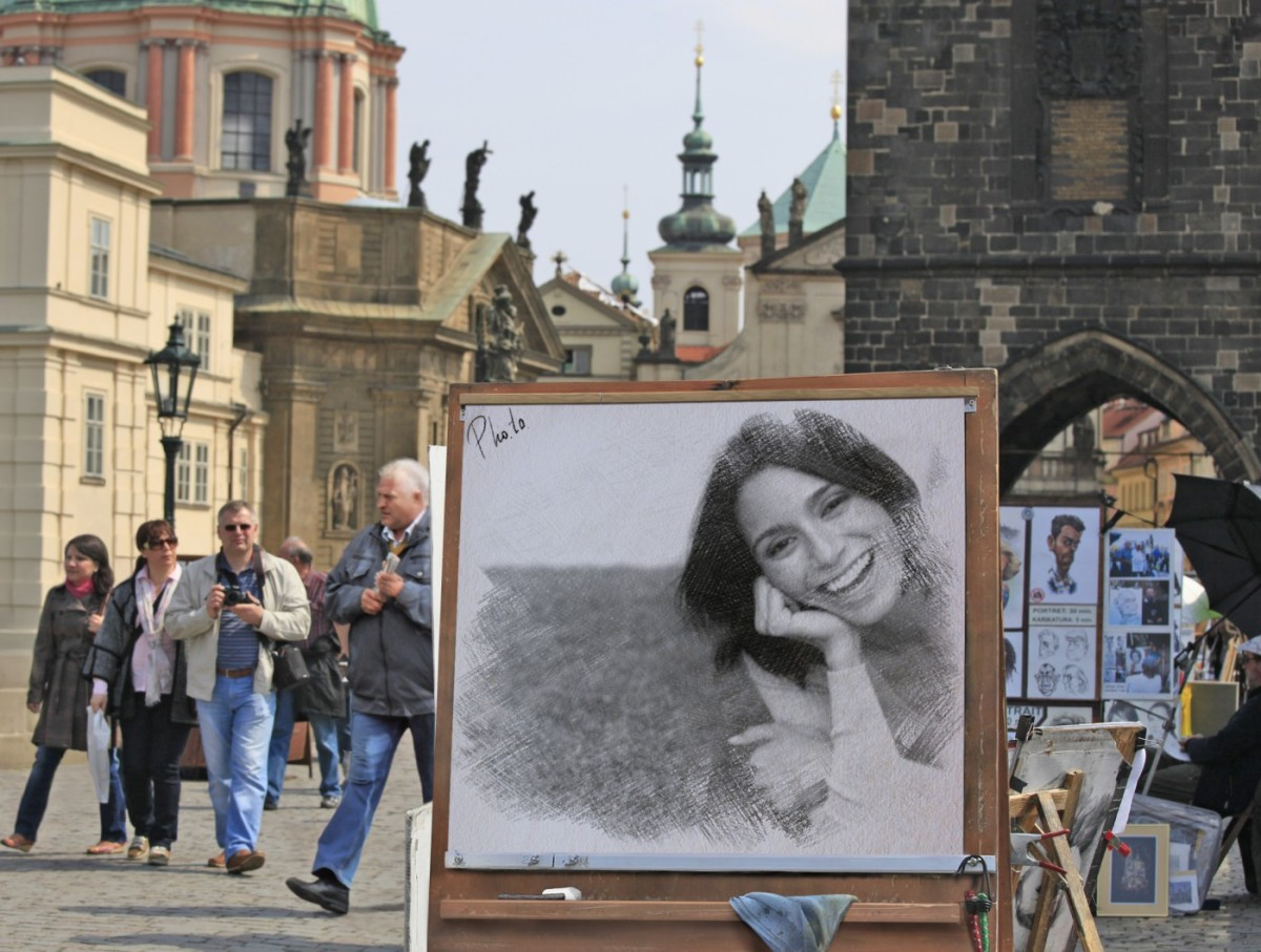 Woman portrait on Charles bridge