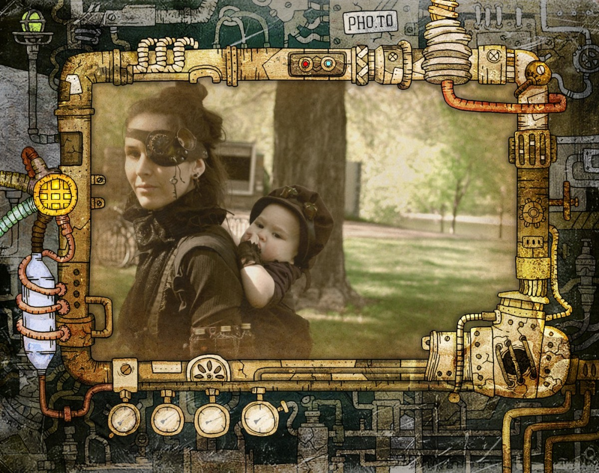 Steampunk family passes by