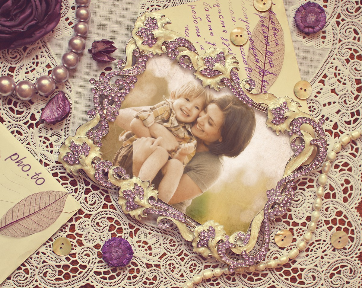 Mother and child photo placed into a stylish vintage frame