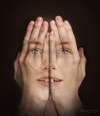 Imitate the surreal photomontage with transparent hands over face