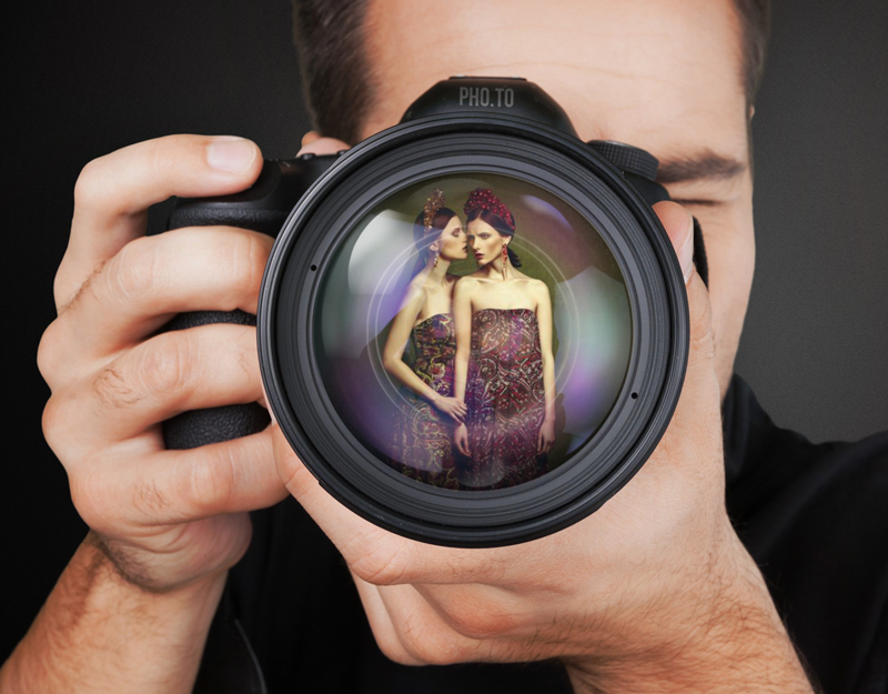Photo montage to place your photo as a reflection in camera lens