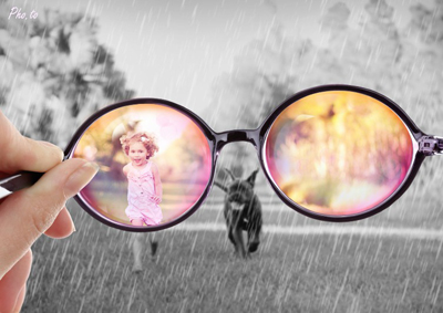 Cool photomontage for real optimists with rose-colored glasses