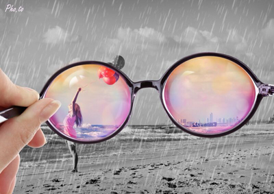 Optimistic photo montage with rose-tinted glasses
