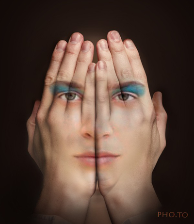 Make a provocative profile pic with Hands over Face photo manipulation