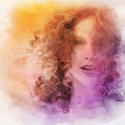 Photo-to-watercolor online effect in soft warm colors