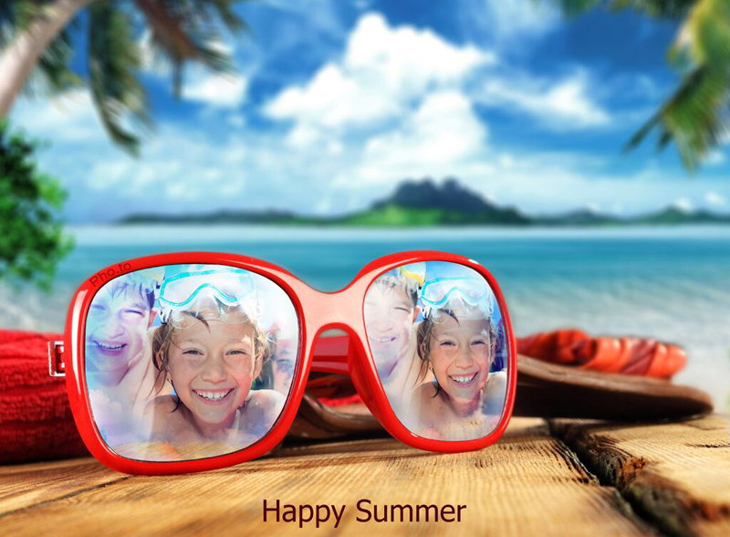 Make a cool beach card with our sunglasses photo frame