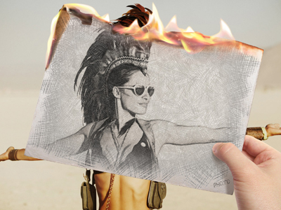 Turn your photo into a burning pencil sketch.