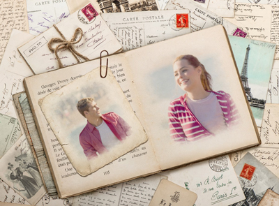Unite two photos in one vintage love card with old French book and postcards