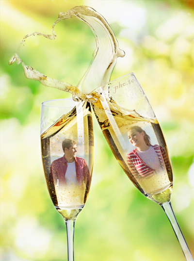 Beautiful love frame for two photos with a heart and champagne glasses