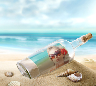 Make a love card with sea, shells and your photo placed into a glass bottle