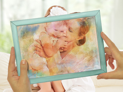 Artistic photo montage to turn photo into delicate watercolor painting