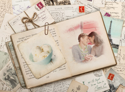 Vintage book frame for two photos adorned with old French postcards