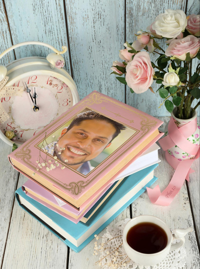 Turn your photo into vintage image adorned with books and flowers with the help of our online photo frame