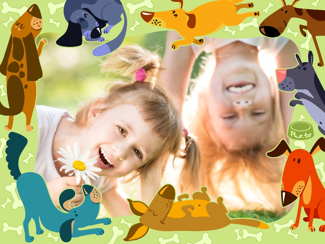 A green photo frame with cartoon dogs is applied to a photo of two cheerful children playing outside