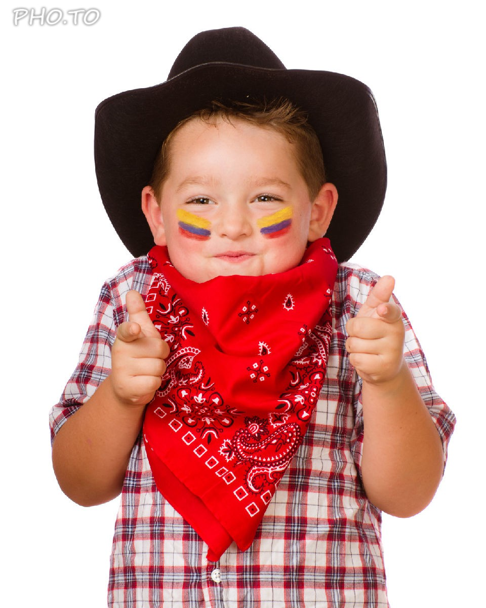 Patriotic face paint with a flag of Colombia was added to a photo of a little boy