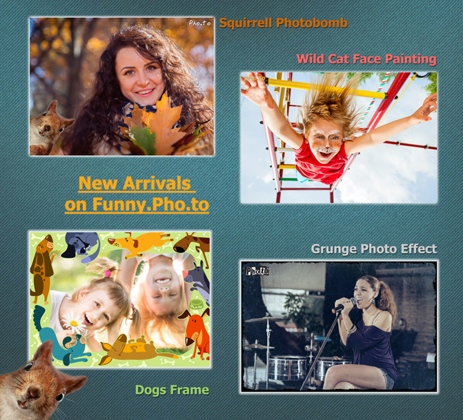 New funny and unusual photo editing effects, frames, photobombs and collages on free online photo editing service Funny.Pho.to