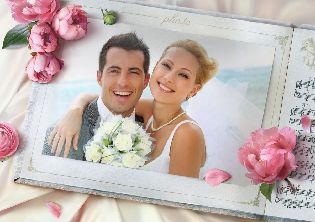 A gentle wedding frame with flowers for newlyweds