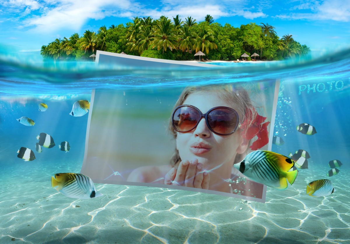 Beautiful summer photo frame added to a photo of a girl snorkeler