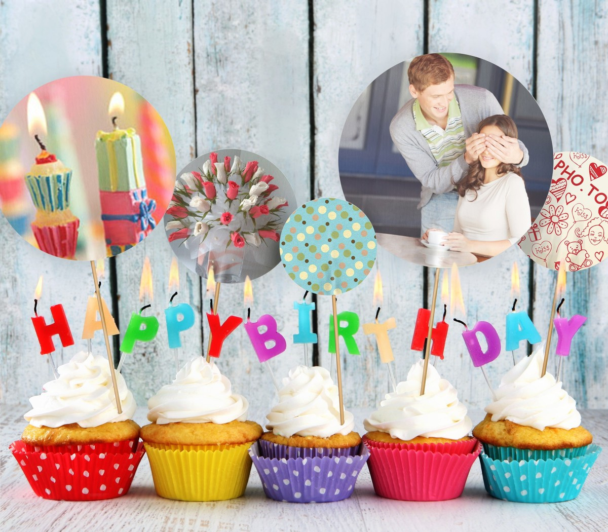 Cool birthday photo card made with three photos of candles, loving couple and flowers