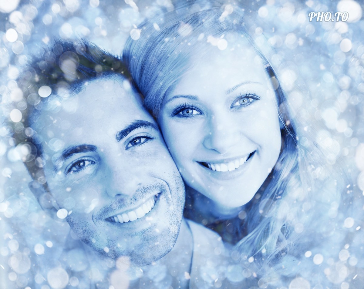 Blue bokeh overlay added to a photo of a happy couple in love