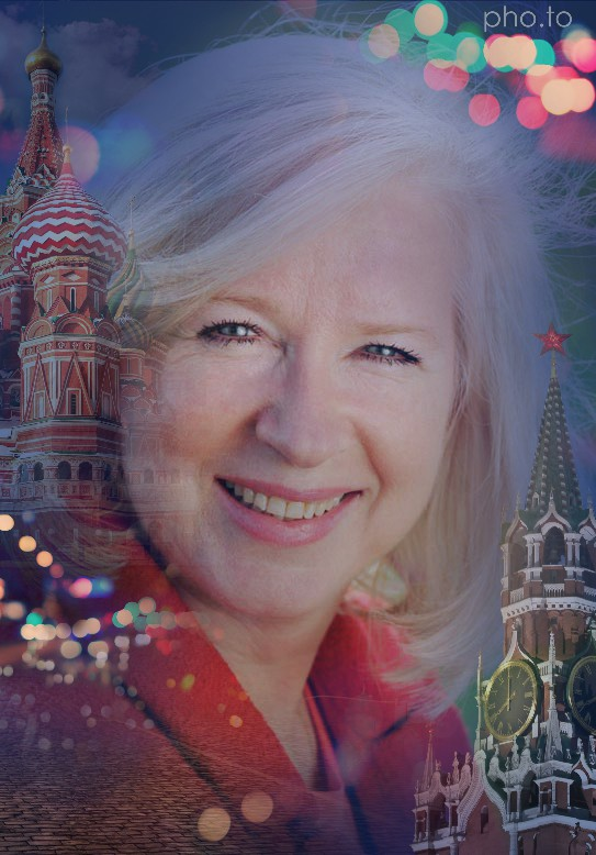 Background on the portrait photo of an aged woman was substitute by cityscape with popular Moscow places of interest