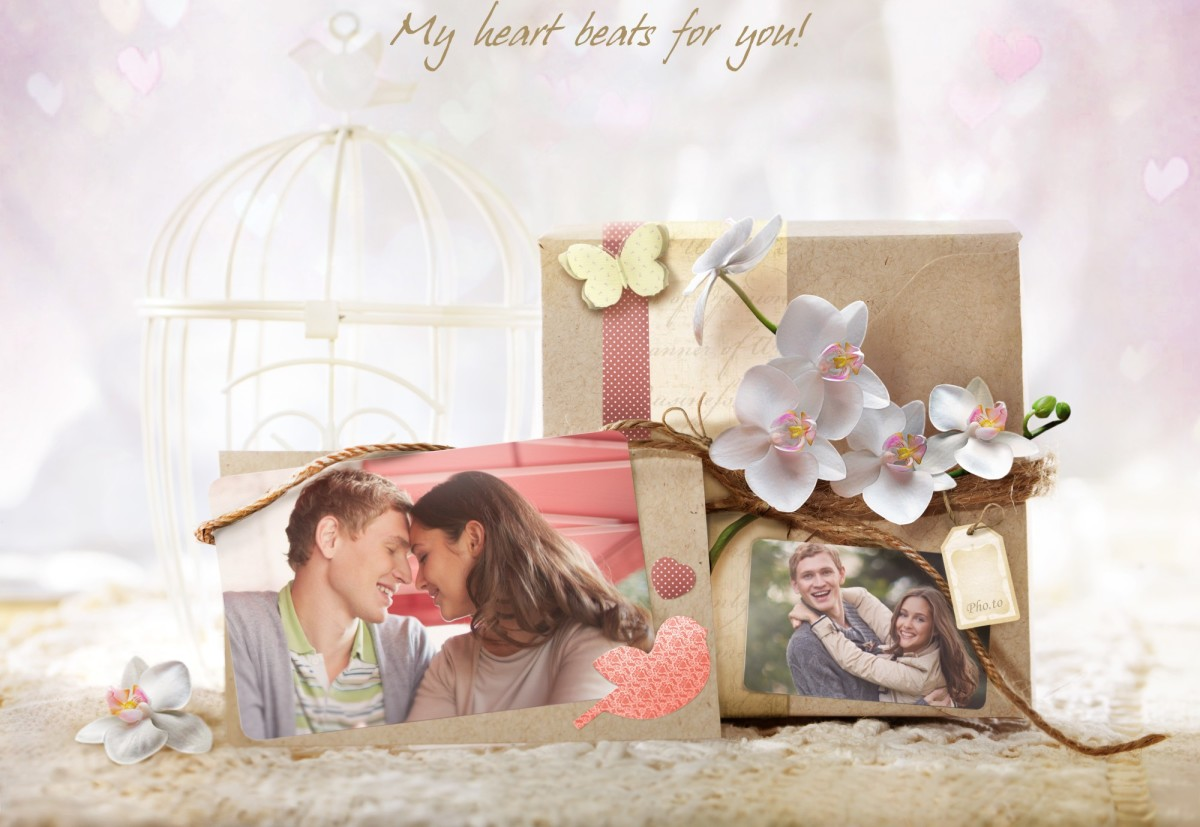 A love photo card that lets you unite two images in one romantic picture