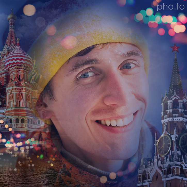 A portrait photo of a man winter clothing with background changed into famous views of Moscow city