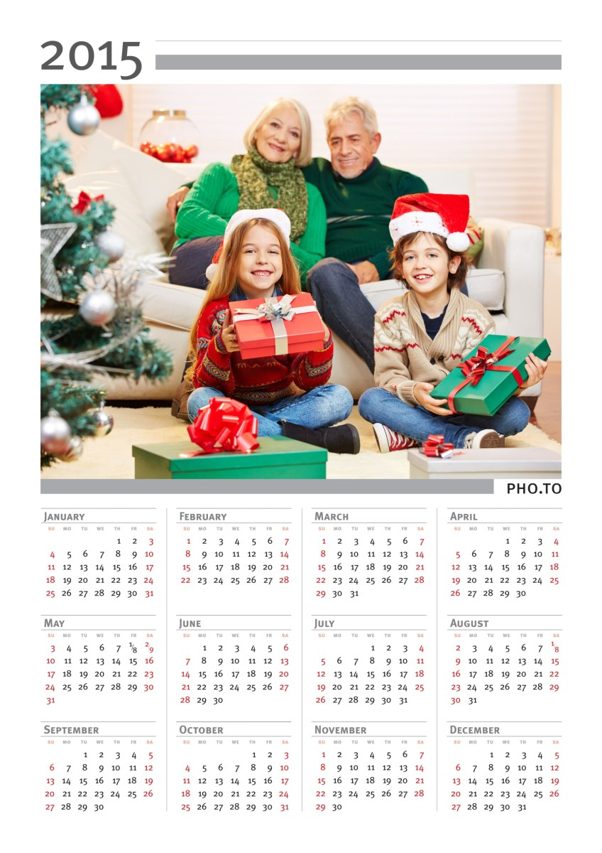 A diy photo calendar for January 2015