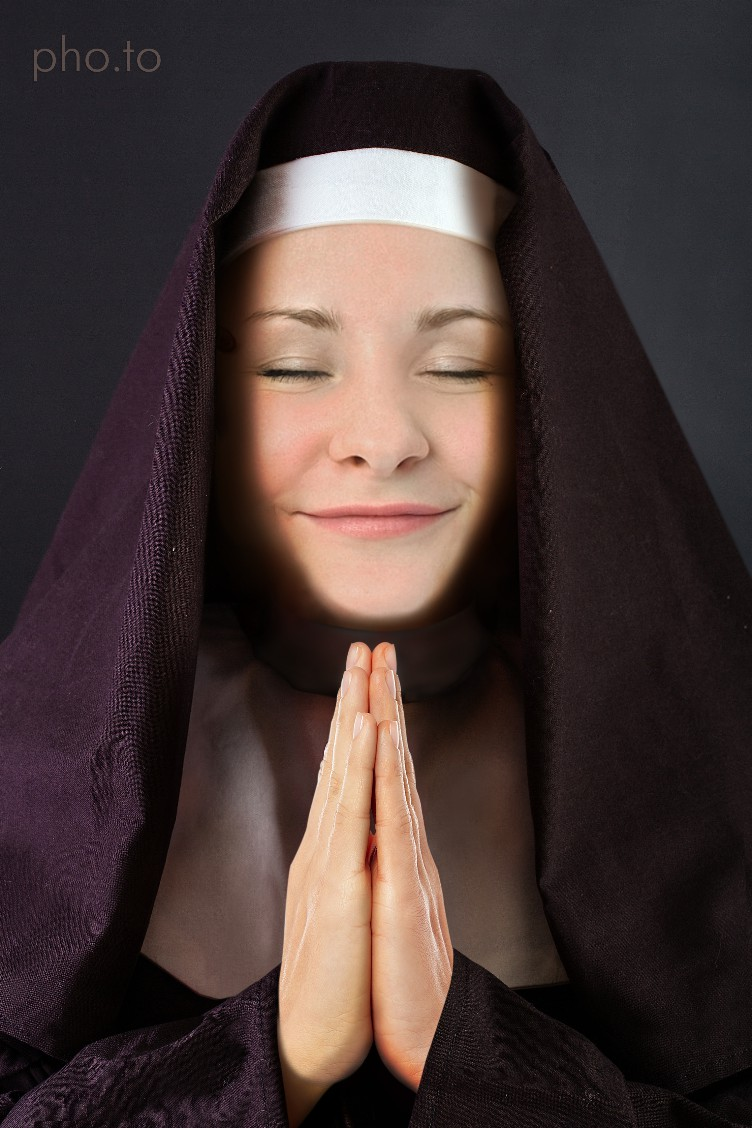 A nun face photo montage for girls who'd like to put on a cowl