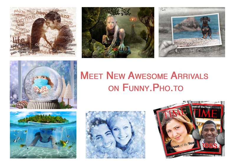 New photo frames, artistic effects, a face montage and a fake magazine cover on free online photo editor Funny.Pho.to