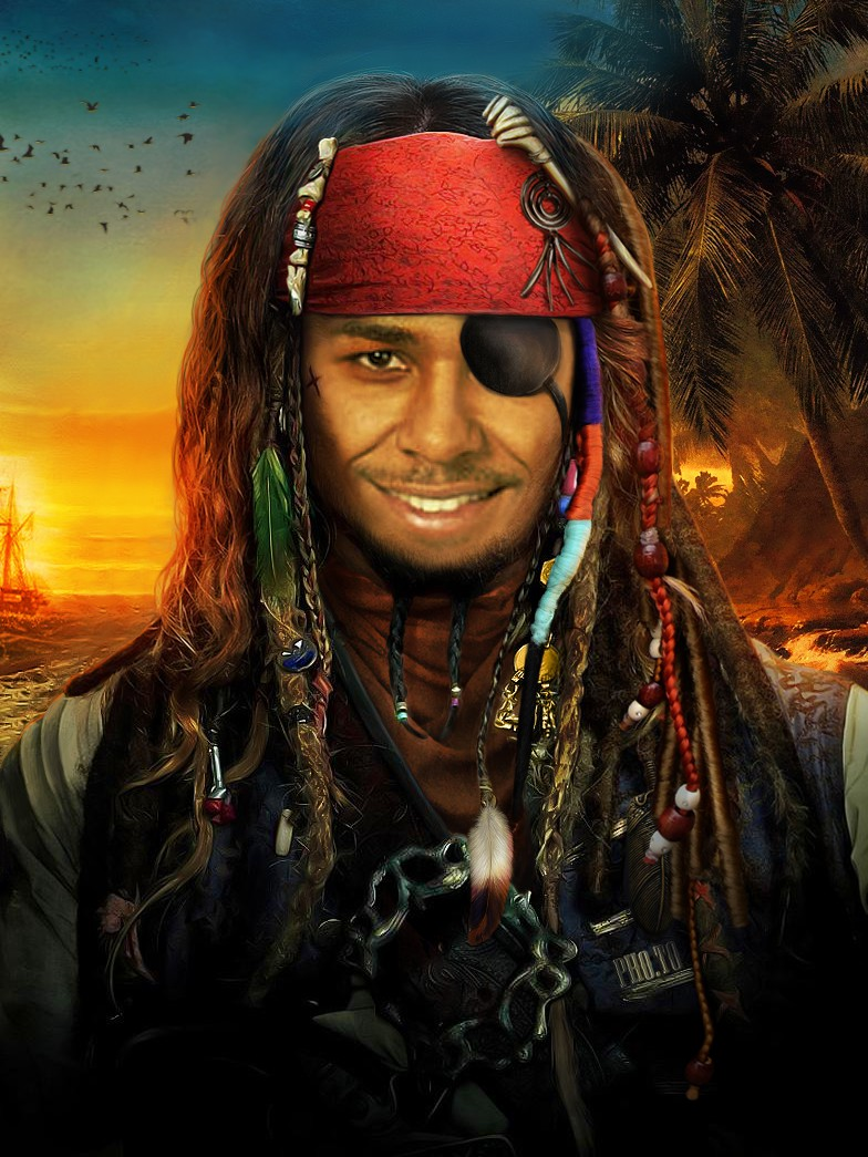 Become a joyful pirate with this face in hole effect