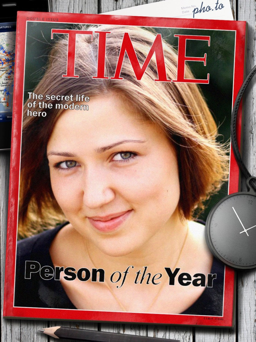 Photo of a girl placed into the Time magazine cover template