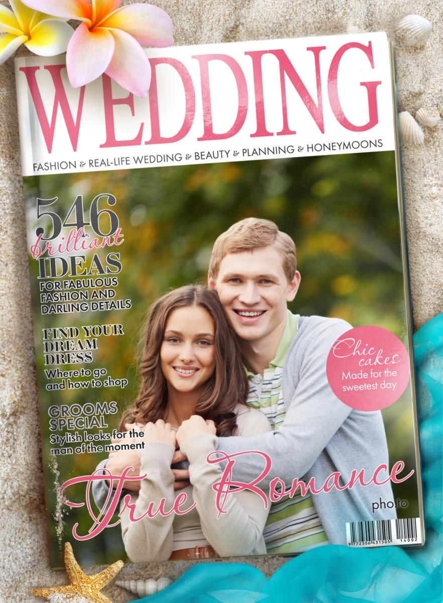 A fake Wedding magazine cover is used to make an anniversary greeting card