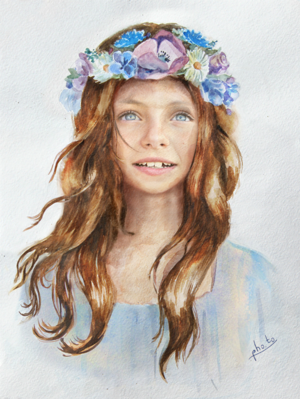 Girl Flower Crown Watercolor