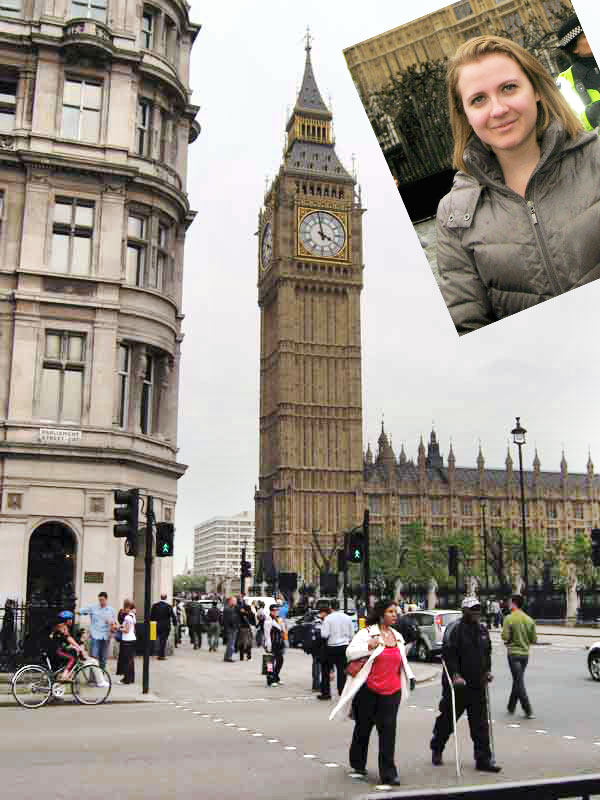 A tourist girl standing near Big Ben