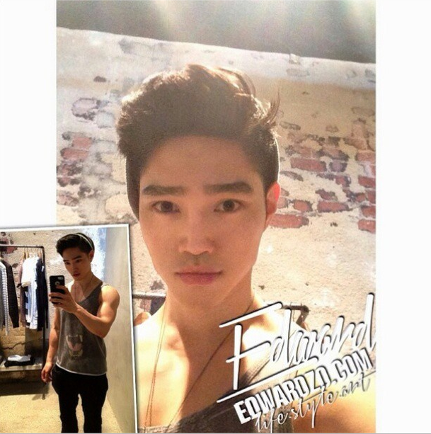 Popular Korean actor and model Edward Zoo is taking selfie in different outfits