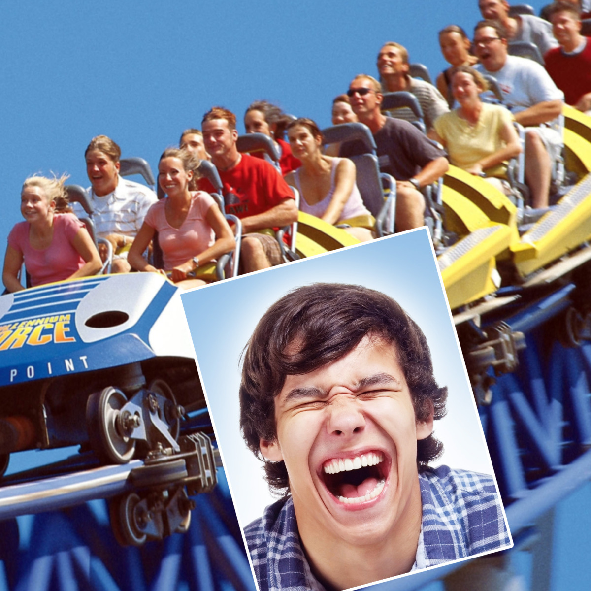 Having fun on a roller coaster