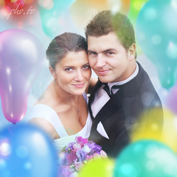 Wedding photo frame with colorful party balloons