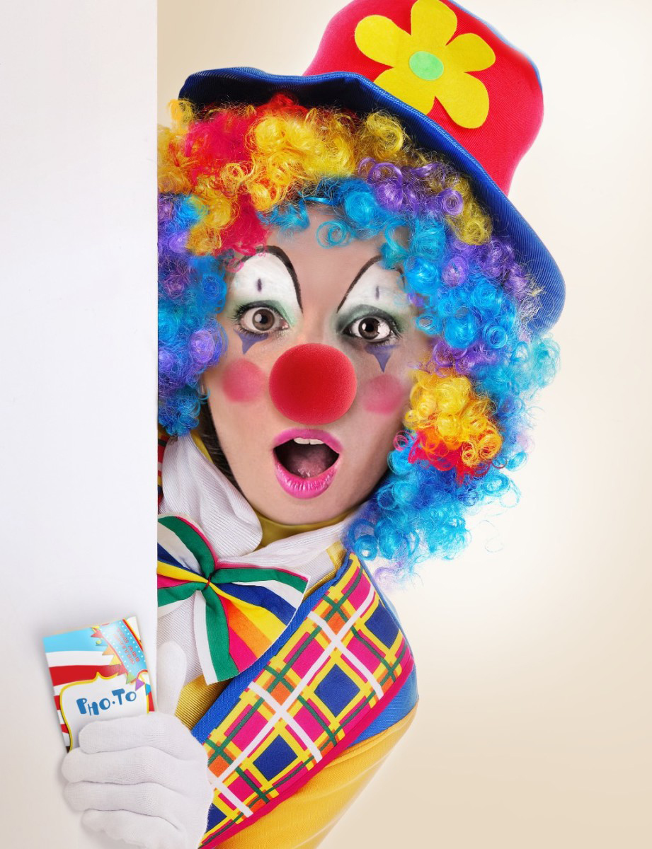 Use this clown face in hole to make funny pictures for the April Fool's day