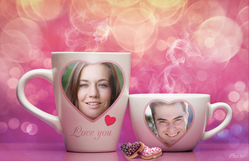 Couple photo frame and love wallpaper maker
