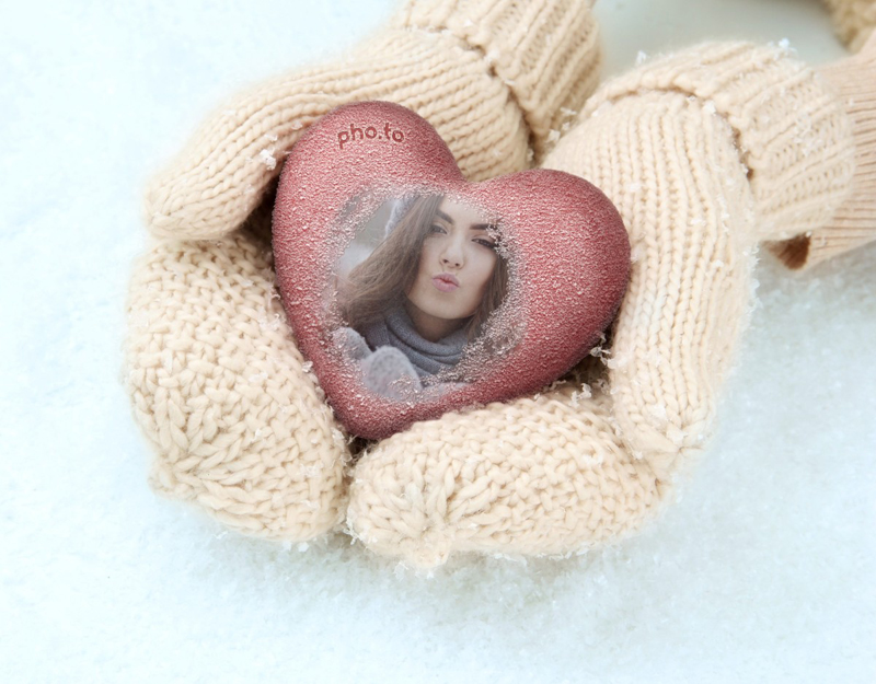 Romantic winter card for those who are in love