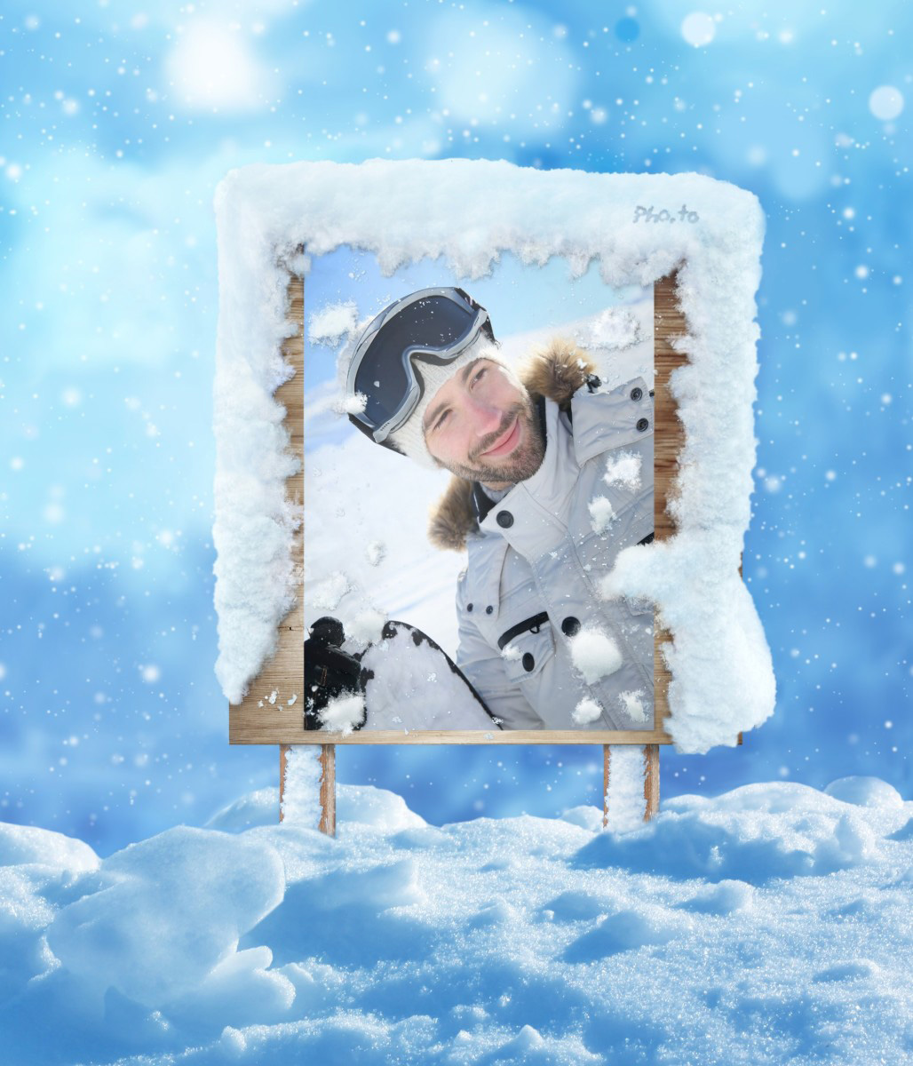 Winter photo frame for snowy photos