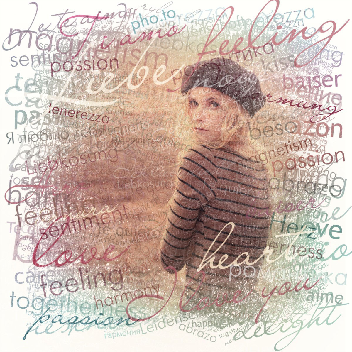 Cover your photo with romantic words of love written in different languages