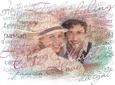 Artistic photo filter that can write words of love on your photo