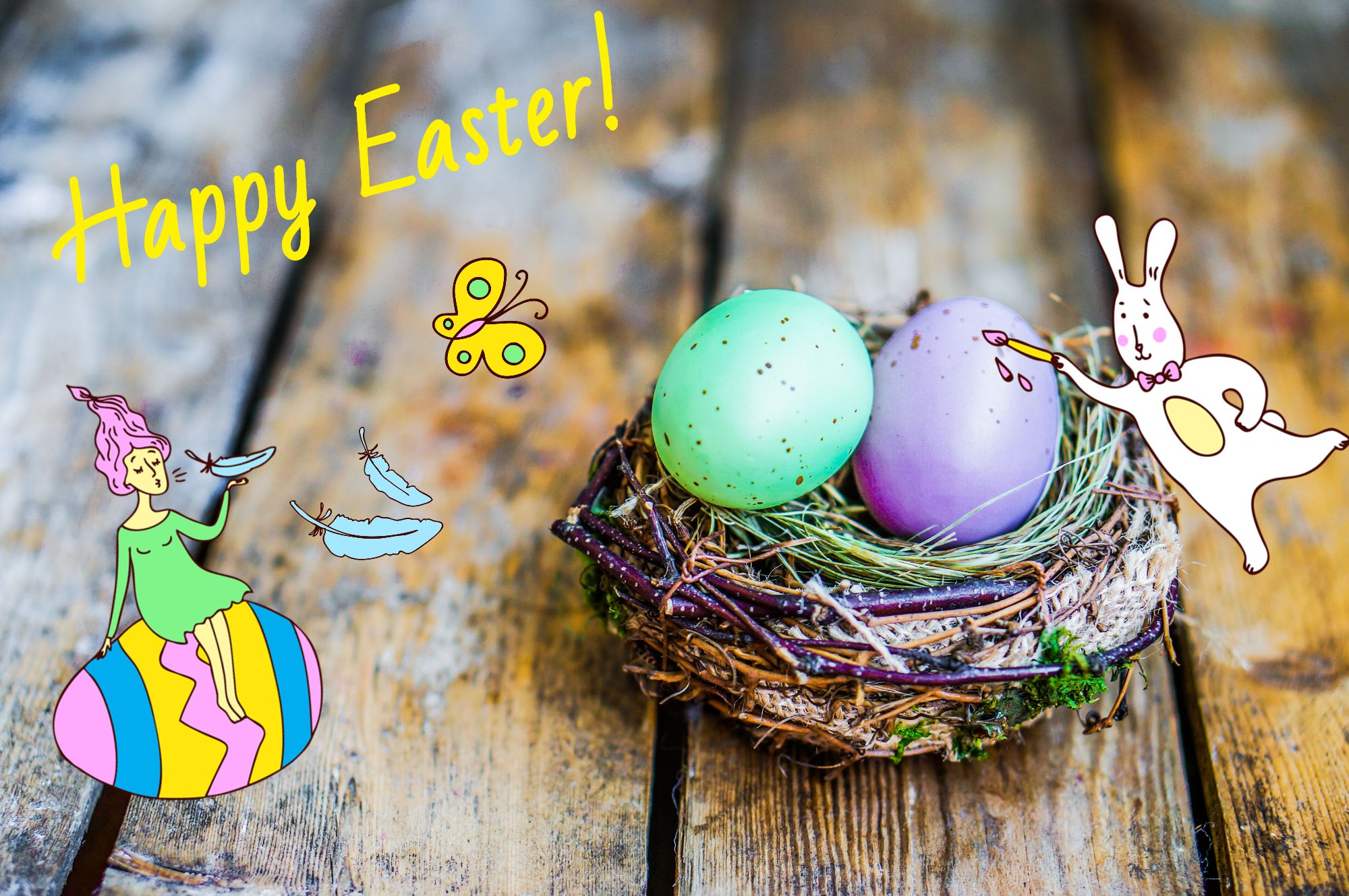 Easter photo card with funny stickers designed online with free photo editor